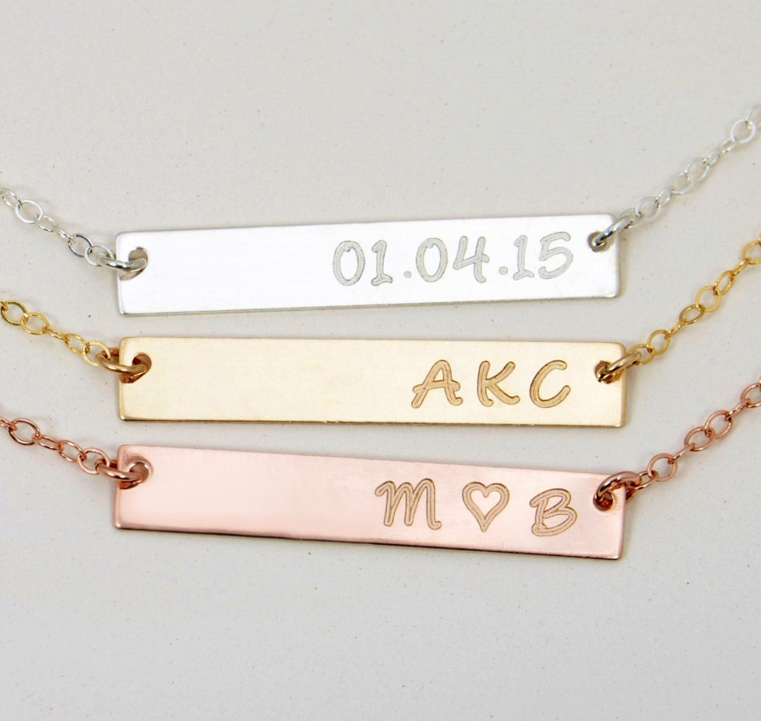 engravable gold bar necklace engraved bar necklace by