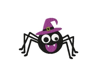 Halloween Spider Witch Embroidery Design