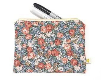 Roses pencil case, flowers zipper pouch, make up pouch, pencil pouch