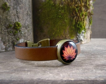Orange leaf bracelet, Brown leather bracelet, Fall leaf cuff, Tan leather wristband, Autumn maple leaf jewelry, Brown leather cuff (NJ 020)