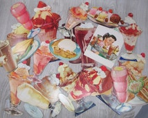1950s Vintage Diner Litho Photo Signs Large Lot  Menu Restaurant Retro Ice Cream Sundae Shakes Advertisements F.W. Woolworth Best Collection