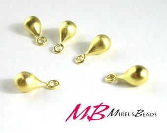 2 pc 11x5mm 22k Gold over 925 Sterling Silver Teardrops Charm, 3D Tear Drop Pendant