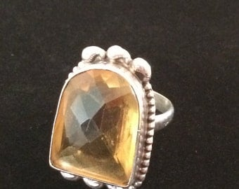 Vintage Sterling Ring with Yellow Stone