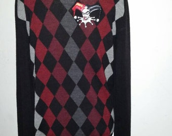Harley Quinn Inspired Upcycled Argyle Sweater  Medium