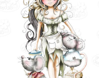 Cinders with Mice Fairytale Black and white Digital Stamp