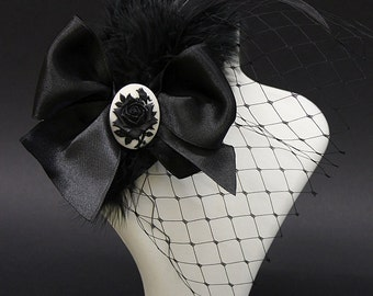Black rose Fascinator - costume hair accessory, birdcade with black sinamay and black feathers and rose cameo - Victorian Gothic Jewelry