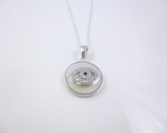 Evil Eye Necklace, Mother of Pearl Necklace, Sterling Silver Evil Eye,   Dainty Charm Necklace,