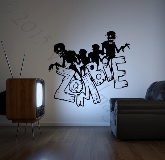 Zombie wall decal Halloween wall decal monster wall decal