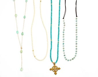 Chrysoprase Station Necklace, Turquoise Coptic Cross, Amazonite Rosary Cord, Cream Gold Seed Bead, Long Layering Necklace, Delicate Necklace