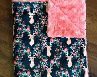Minky Throw Blanket- Deer Antlers & Flowers, Minky Baby Blanket, Adult Minky Blanket