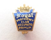royal typewriter pin goes perfectly with royal quiet de luxe typewriters! vintage collectible proficiency club accuratio primum jewelry
