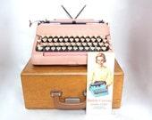 pink typewriter working smith corona silent super vintage typewriters 1950s 1960s boho decor bohemia christmas gift for writer photo prop