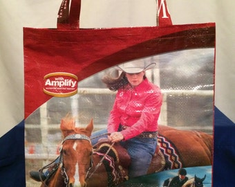 Recycled, Repurposed Horse Feed Bag Tote With Commercial Webbing Straps (Barrel Racing, Horse Racing, Rodeo)GROCERY BAG, Reusable Bag