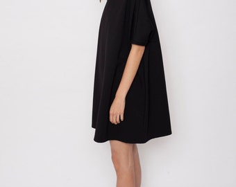 Casual black dress, oversize dress, oversize tunic, A-line dress,black tent dress, loose dress, casual dress