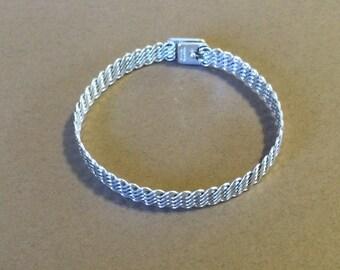 """Sterling Silver Weaved Rigid Bracelet 7 1/4"""""""