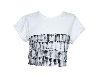 White Cropped T-Shirt, Black stripes pattern hand painted, Cool shirt, Cool tee, White shirt, Girl T shirt, Teen girls top