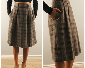 Vintage plaid skirt high waisted wool tulip skirt mad men style small S 1970s 1980s 70s 80s wool