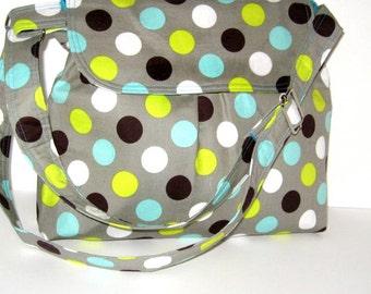 CROSS BODY MESSENGER Bag, Gray Bag With Polka Dots, Cross Body Purse, Handmade Bag, Made To Order