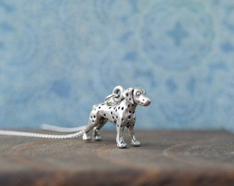 Silver Dalmatian Necklace • Sterling silver jewellery, dog breeds, dalmation, gifts for wife girlfriend, dog lover, groomer, pet,
