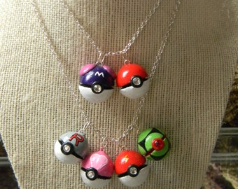 Pokeball Necklace Or Charm with Swarovski crystals