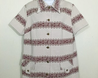 Vintage 1960s Beige & Burgundy Striped Button Up Women's Blouse Short Sleeves / 1X - 2X / 60s Mod Casual Day Wear Fortrel Polyester
