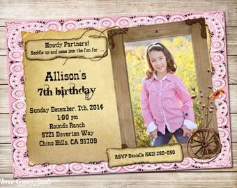 Cowgirl Birthday Invitation Cowgirl Invitation Western Cowgirl Invitation Cowgirl Birthday Party Invite Girls Western Invitation