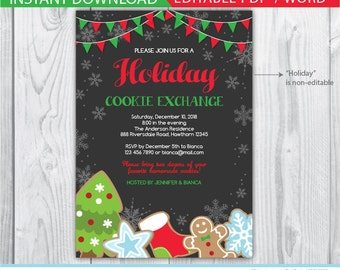 cookie exchange invitations / cookie exchange invite / cookie swap invitation / holiday cookie exchange invitation / cookie exchange party