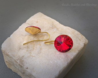 Ruby Red Crystal Drops, Swarovski Crystal Earrings, Holiday Earrings, Red Crystal Earrings, Wedding Earrings, Bridesmaid Earrings