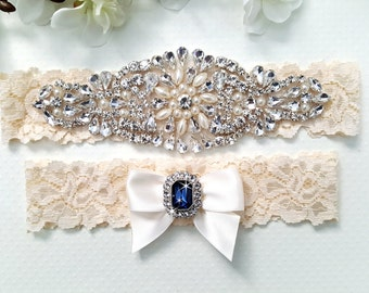 Wedding Garter Set, Bridal Garter Set, Crystal Garter Set, Vintage Lace Garter - Style L300