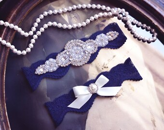 Wedding Garter Set,Wedding Garter Navy,  Crystal Rhinestone Garter Set on a Navy Blue  Lace Garter Set with Pearl & Rhinestone
