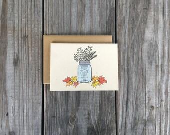 Mason Jar Note Card Set, Fall Note Card Set, Mason Jar Thank You Card Set