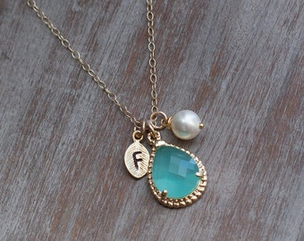 Bridesmaids mint necklace set pearl personalized jewelry letter monogra bridal wedding gift party set of 4 5 6 7 8 9 turquoise gold necklace