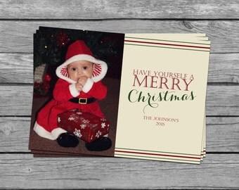 SALE 50% OFF Custom Photograph Christmas Card - Have Yourself A Merry Christmas