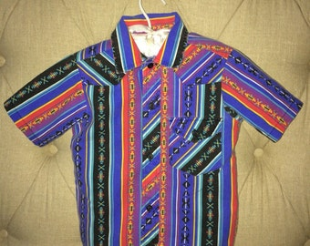 vintage south western rodeo boho Indian Native American short sleeve toddler boys girls cowboy cowgirl blue black red costome 80s shirt top