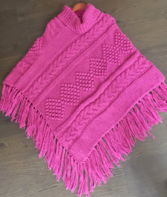 Alpaca Poncho Knitting Pattern : Hand knitted Cable Poncho Alpaca Blend Fuchsia Pink Sweater