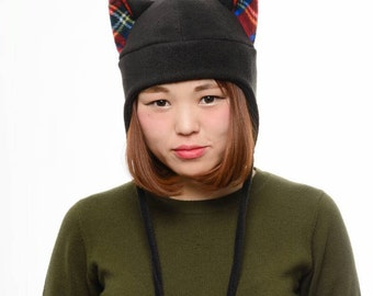 Cat Hat - Plaid Cat Ears - Cat Ear Hat - Black Cat Hat - Kitty Cat Hat - Cat Fleece Hat - Cat Aviator Earflap Hat - Anime Hat - Cat Costume