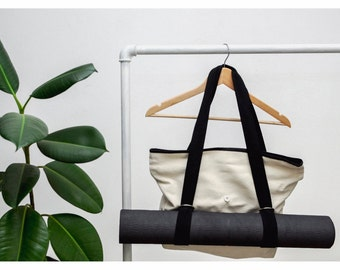 Yoga tote bag, Yoga mat bag, Canvas bag, Personalized Yoga Bag, Handmade shoulder bag, yoga gift