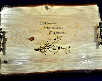 Wedding Gifts ~ Gift For Parents ~ Unique Wedding Gift ~ Live Edge ~ Engraved Serving Tray ~ Bridal Shower Gift ~ Gift For Couple ~ Wedding