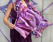Hand painted silk scarf, Calla Lilies scarf, Purple Silk Scarf, Bridesmaid Silk Scarf, Floral silk scarf, Wedding silk scarf,Lily silk scarf