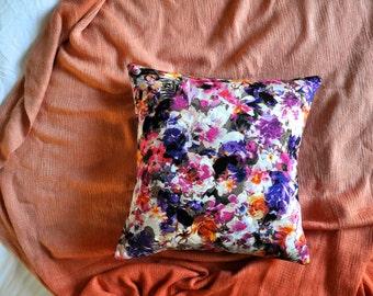 Watercolour Cushion Cover, Throw Pillow Cover, Throw Cushion Cover, Decorative Cushion Cover, Decorative Pillow Cover - Colourful Floral