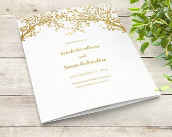 Any colour Leaves Folded Wedding Program Template Instant Download | Editable printable templates