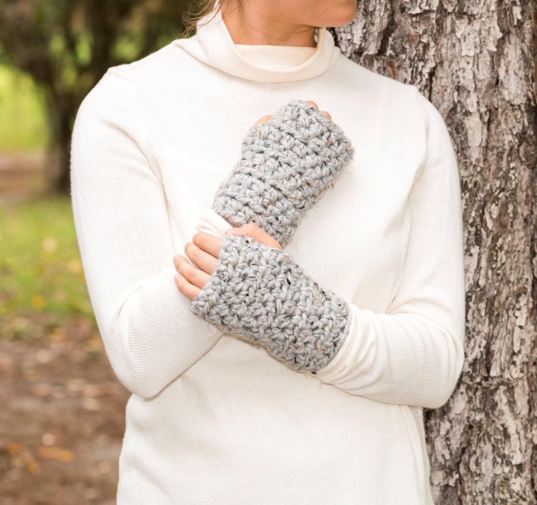 Chunky Crochet Wool Fingerless Gloves Knit by ...