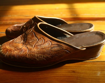 Hand Tooled Leather Clogs
