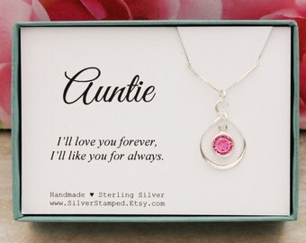 Gift for Aunt Auntie birthday Gift sterling silver infinity necklace select a birthstone necklace Christmas gifts from niece or nephew