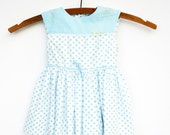 Blue Polka Dot Dress, Vintage Baby Girl, Baby Girl Clothes, Size 18 Months, 1960s