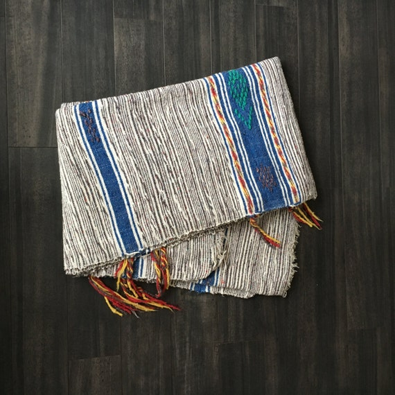 Vintage Mexican Style Woven Bohemian Blanket Or Rug With