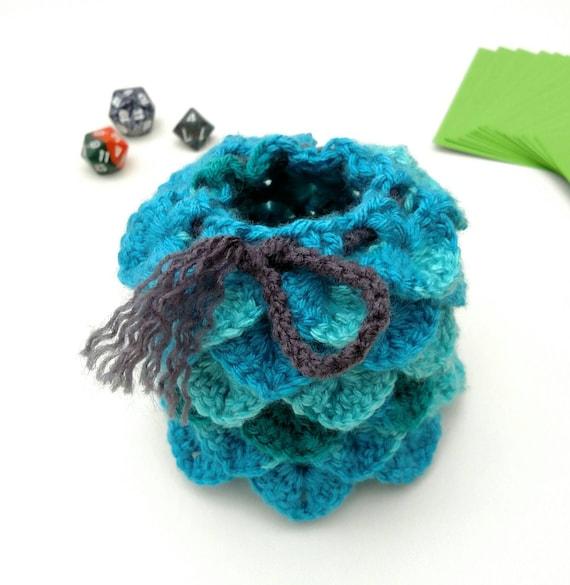 Dragon Egg Dice Bag Crochet Pattern : Crochet Dragon Egg d20 Dice Bag Scalemaille Dragon by CroChels