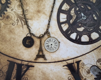 """Inspirational Paris Necklace:Eiffel Tower, Pocket Watch,""""Excellence"""" Muse Token with Cut-out """"E"""" on Brass Double Link 30""""Chain+Lobster Clasp"""
