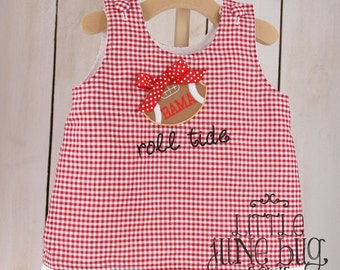 Alabama Gameday Top, Red Gingham Alabama Top, Baby/Little Girl Gameday Top, A-Line Gingham Ruffle Top, Roll Tide Gameday Ruffle Top