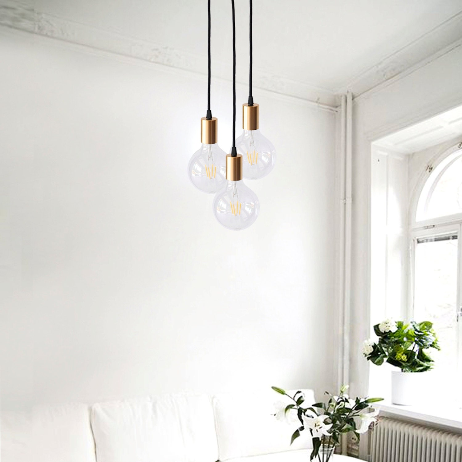 Geometric Brass Chandelier: Gold Pendant Light Modern Chandelier Geometric Lighting Brass